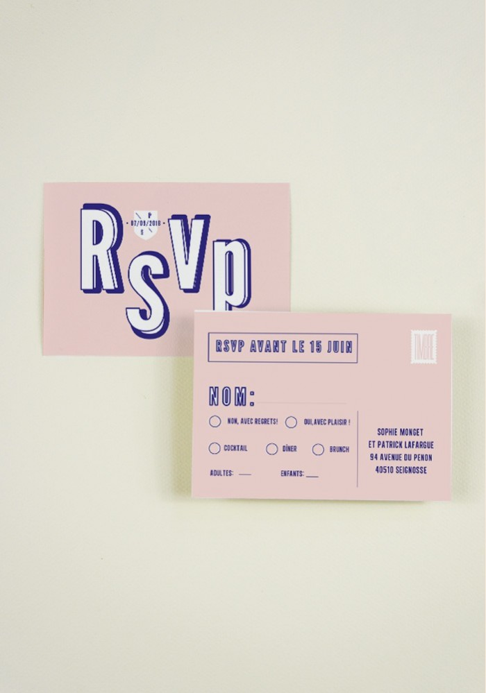RSVP - POP LOVE- pour un mariage moderne et graphique